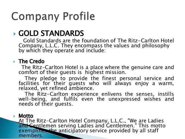relationship of the ritz carlton gold standards to quality