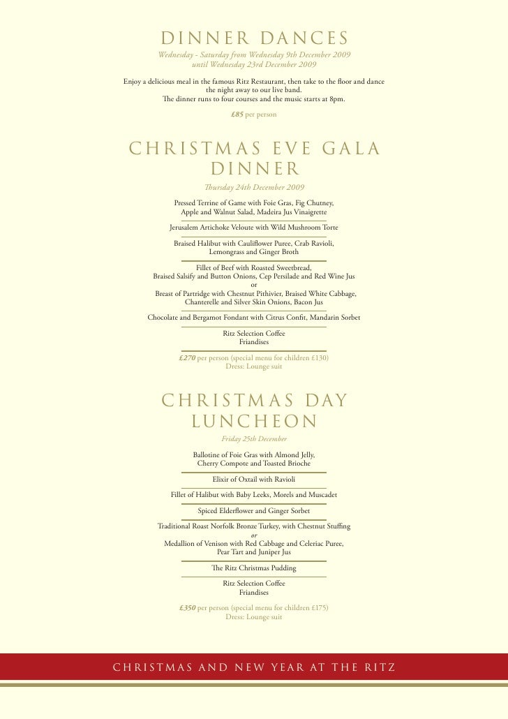 Ritz Hotel Lunch Menu