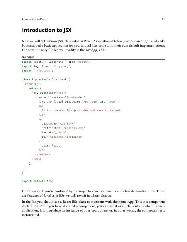 Introduction to React 12 Code Playground // component declaration class App extends Component { ... } // component usage (...