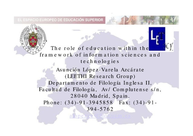 The role of education within the framework of information sciences and technologies