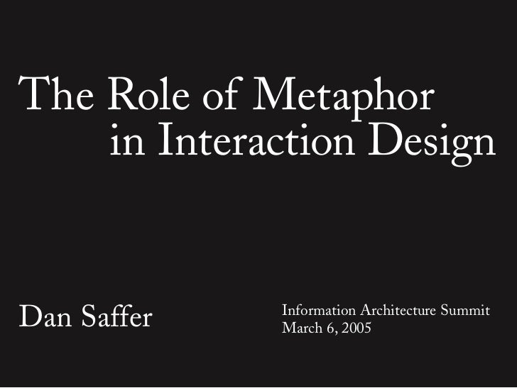 The Role of Metaphor     in Interaction Design   Dan Saffer   Information Architecture Summit              March 6, 2005