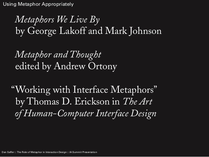 "essays on metaphors we live by Metaphor response essay in the reading selection ""metaphors we live by"" by george lakoff and mark johnson, the authors convey that metaphors are used on a daily basis by people like you and."