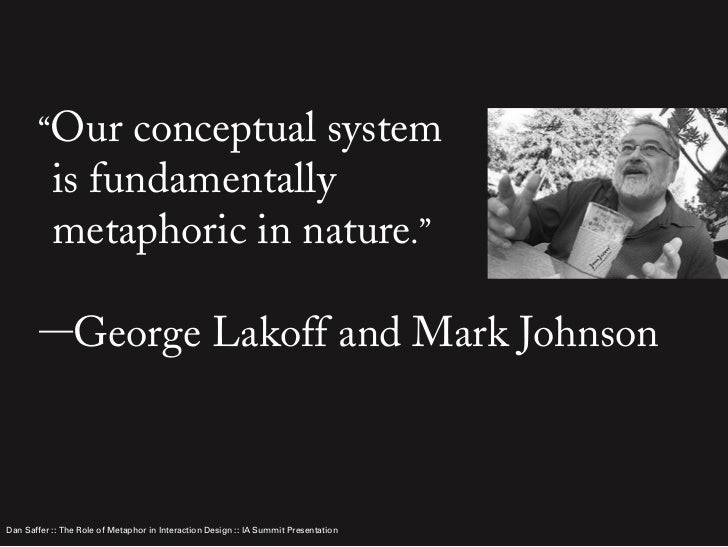 metaphor by george lakoff The cognitive theory of metaphor in a non-academic classroom☆   publication − metaphors we live by written by george lakoff and mark johnson  (1980.