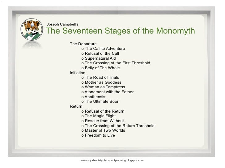 Joseph Campbell's  The Seventeen Stages of the Monomyth             The Departure                     o The Call to Advent...