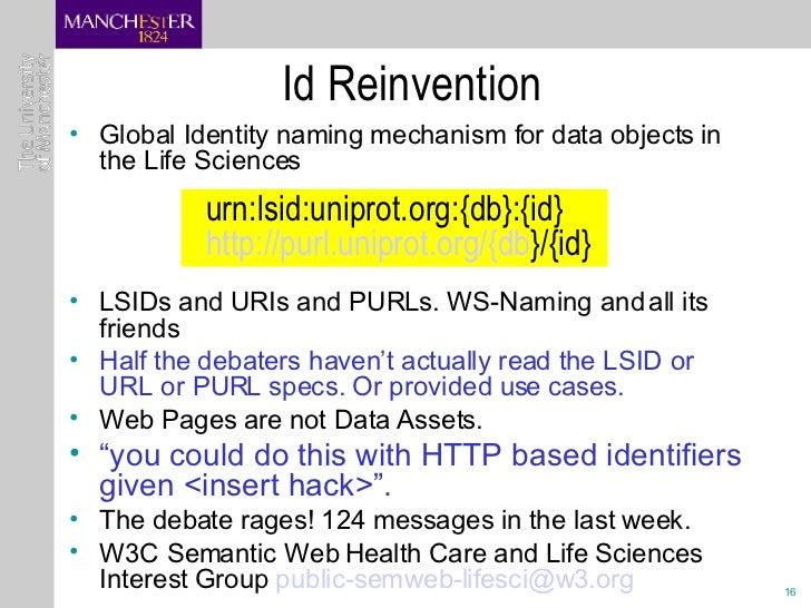 Id Reinvention <ul><li>Global Identity naming mechanism for data objects in the Life Sciences </li></ul><ul><li>LSIDs and ...