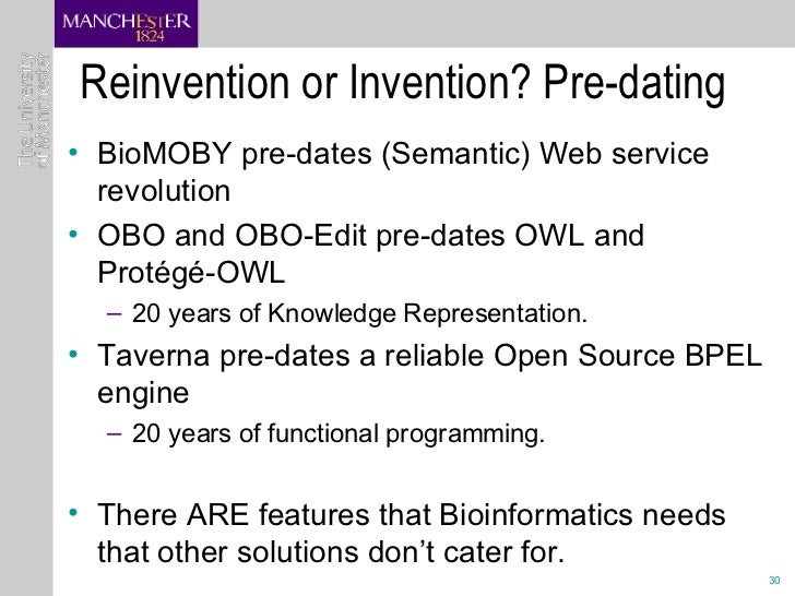 Reinvention or Invention? Pre-dating <ul><li>BioMOBY pre-dates (Semantic) Web service revolution  </li></ul><ul><li>OBO an...