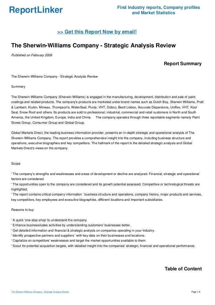sherwin williams generic strategy