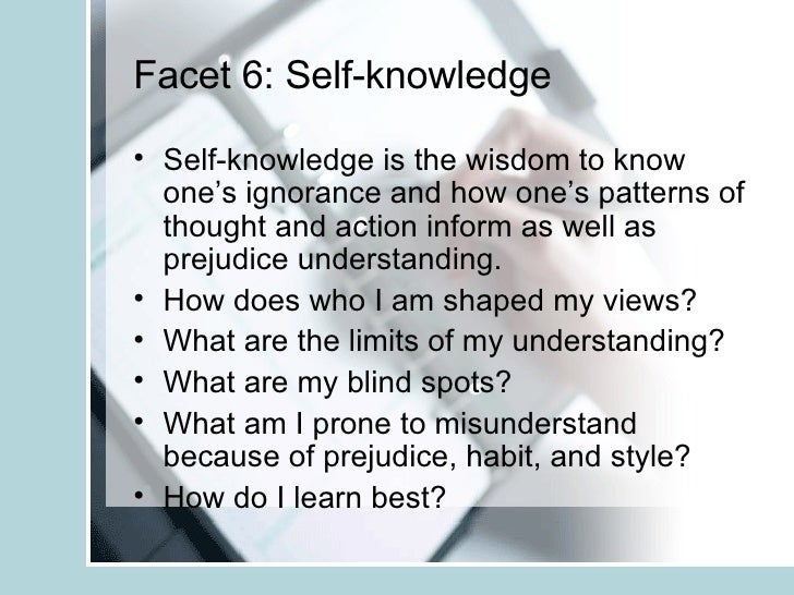Six Facets of Understanding: Learning Objectives