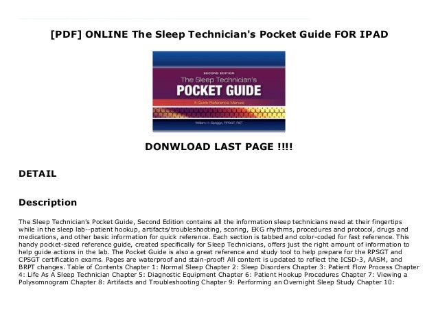 [PDF] ONLINE The Sleep Technician's Pocket Guide FOR IPAD DONWLOAD LAST PAGE !!!! DETAIL Free The Sleep Technician's Pocke...