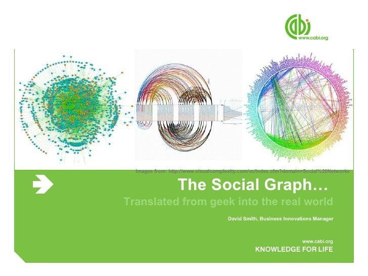 The Social Graph…  Translated from geek into the real world David Smith, Business Innovations Manager Images from: http://...