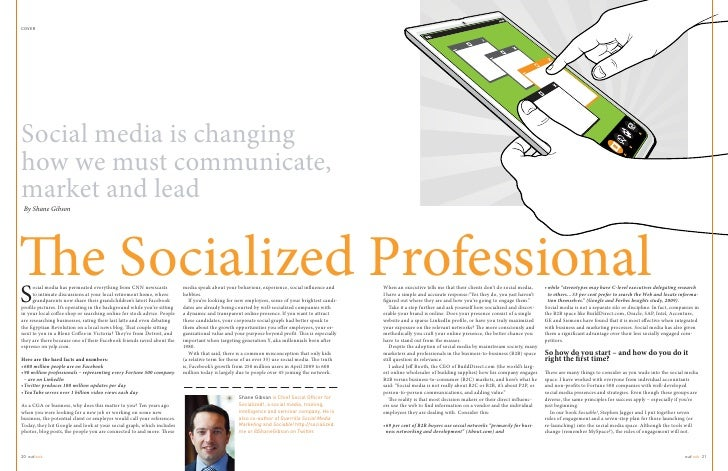 COVERSocial media is changinghow we must communicate,market and lead By Shane GibsonS                           e Socializ...