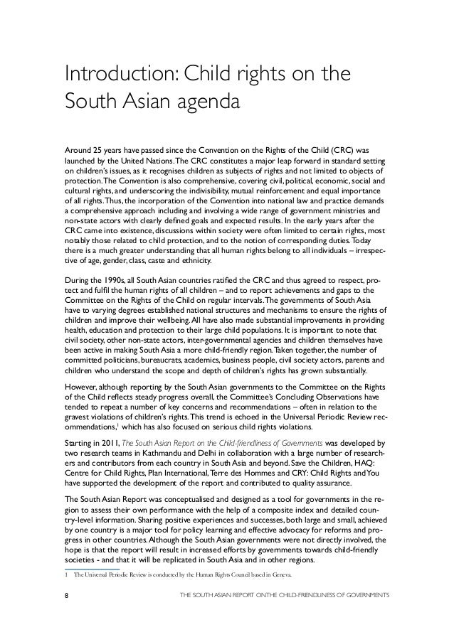 the south asian report on the child friendliness of governments  8
