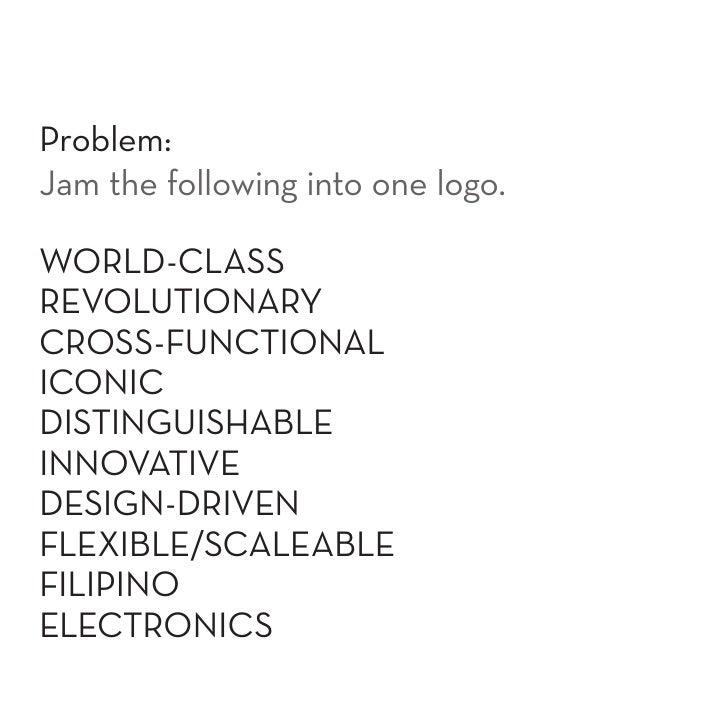 Problem: Jam the following into one logo.  WORLD-CLASS REVOLUTIONARY CROSS-FUNCTIONAL ICONIC DISTINGUISHABLE INNOVATIVE DE...