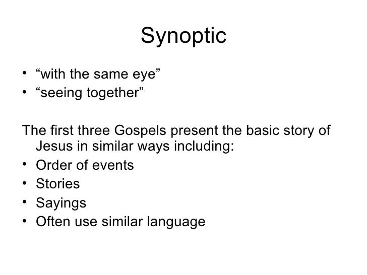 The Synoptic Problem The Gospels Side By Side