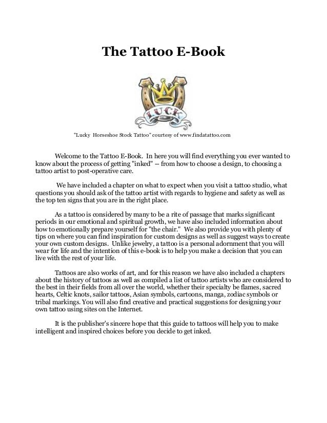 """The Tattoo E-Book""""Lucky Horseshoe Stock Tattoo"""" courtesy of www.findatattoo.comWelcome to the Tattoo E-Book. In here you w..."""