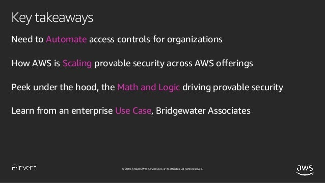 © 2018, Amazon Web Services, Inc. or its affiliates. All rights reserved. Security and data privacy in the cloud is moving...
