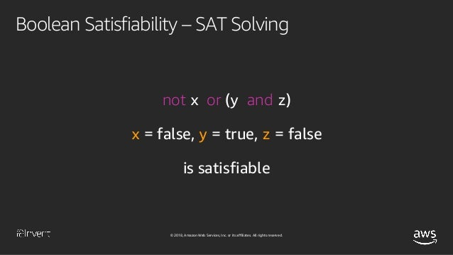© 2018, Amazon Web Services, Inc. or its affiliates. All rights reserved. Boolean Satisfiability – SAT Solving not x and x...