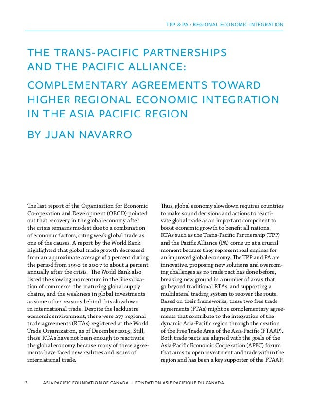 The Tpp And The Pacific Alliance Complementary Agreements Toward Hig