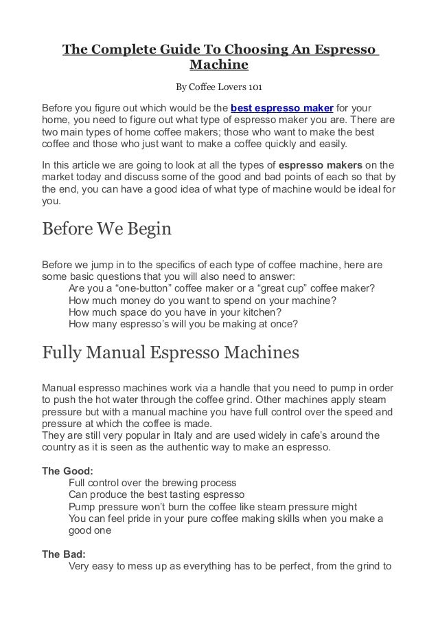The Complete Guide To Choosing An Espresso                     Machine                             By Coffee Lovers 101Bef...