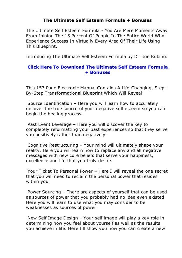 The Ultimate Self Esteem Formula + BonusesThe Ultimate Self Esteem Formula - You Are Mere Moments AwayFrom Joining The 15 ...