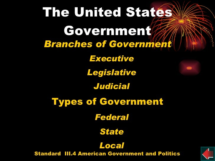 The United States Government <ul><li>Branches of Government </li></ul><ul><li>Executive </li></ul><ul><li>Legislative </li...