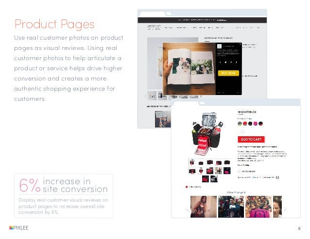Product Pages Display real customer visual reviews on product pages to increase overall site conversion by 6%. 6%increase ...