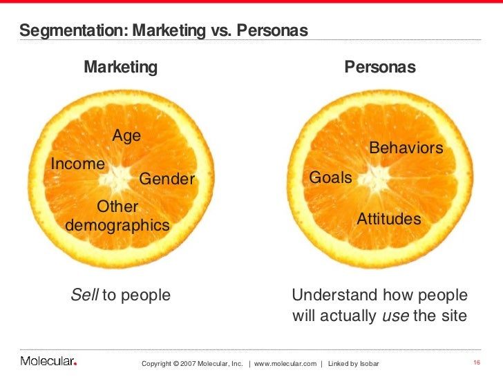 Segmentation: Marketing vs. Personas <ul><li>Marketing </li></ul><ul><li>Sell  to people </li></ul>Personas Understand how...
