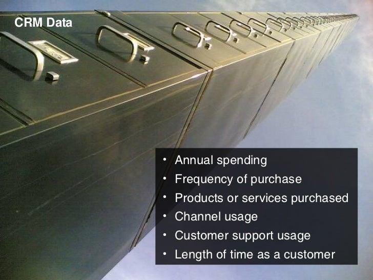 CRM Data <ul><li>Annual spending </li></ul><ul><li>Frequency of purchase </li></ul><ul><li>Products or services purchased ...