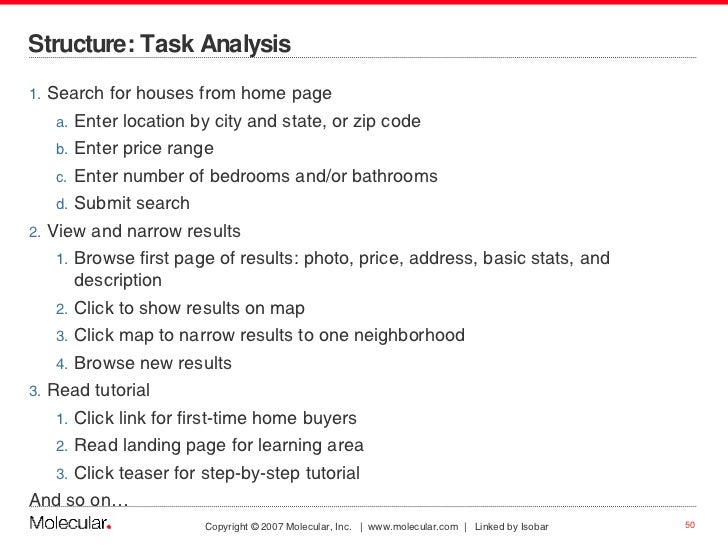Structure: Task Analysis  <ul><li>Search for houses from home page </li></ul><ul><ul><li>Enter location by city and state,...