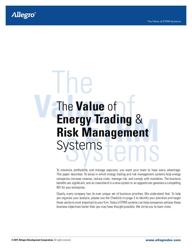 Energy trading risk management systems 2013