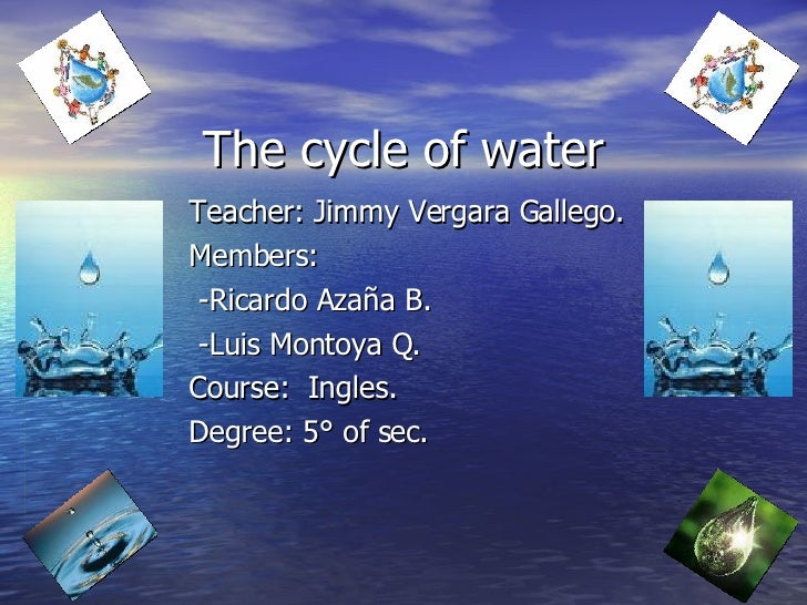 The cycle of water Teacher:  Jimmy Vergara Gallego. Members: -Ricardo Azaña B. -Luis Montoya Q. Course:  Ingles. Degree: 5...