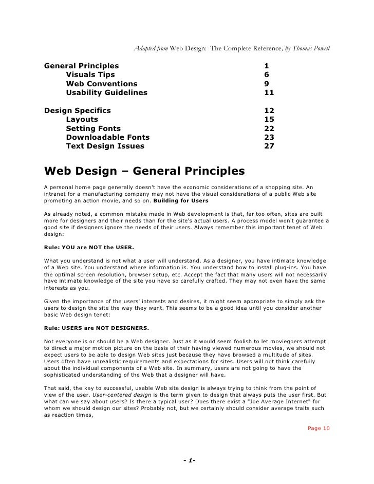 Adapted from Web Design: The Complete Reference, by Thomas Powell  General Principles                                     ...