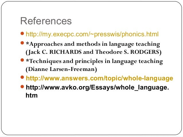 phonics vs whole language research paper Since then, the debate between phonics vs whole word reading instruction methods has been ongoing and unresolved whole word, or whole language, instruction suggests that phonics should ideally be taught within the context of reading for content and meaning.