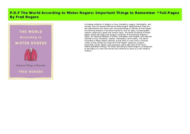 P D F The World According To Mister Rogers Important Things To Remem