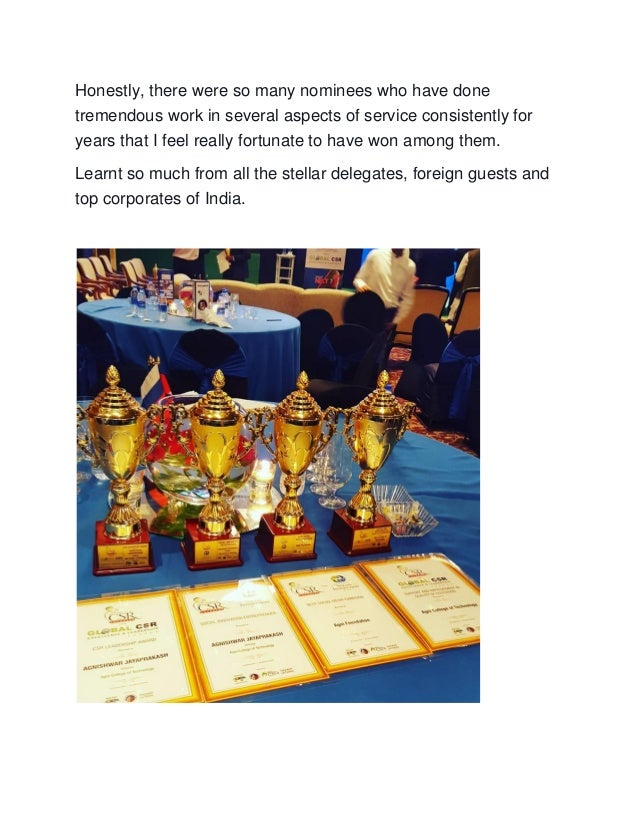 The world csr congress excellence and leadership awards ...