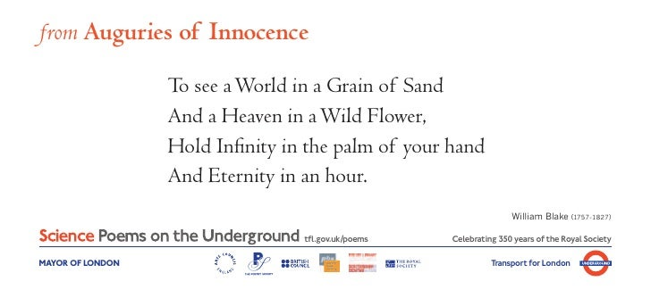 from Auguries of Innocence                  To see a World in a Grain of Sand                  And a Heaven in a Wild Flow...