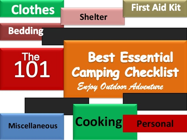 Shelter  Miscellaneous  Cooking  Personal