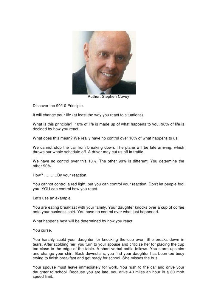 Author: Stephen Covey  Discover the 90/10 Principle.  It will change your life (at least the way you react to situations)....