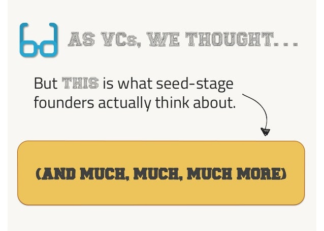 AS VCs, WE THOUGHT. . . But THIS is what seed-stage founders actually think about. 1 Board Meeting(And much, much, MUCH mo...