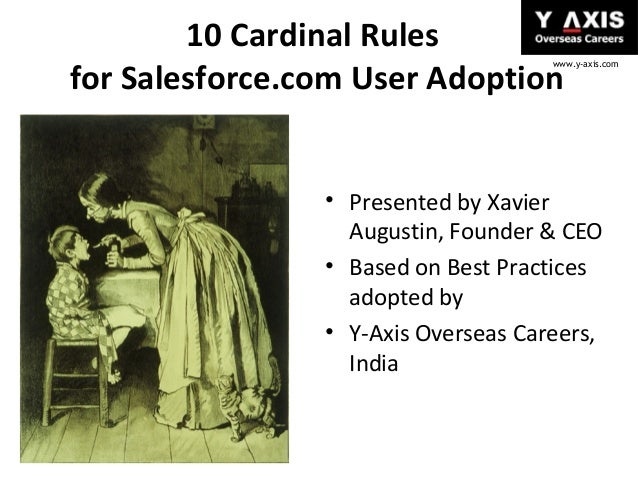 10 Cardinal Rules for Salesforce.com User Adoption  www.y-axis.com  • Presented by Xavier Augustin, Founder & CEO • Based ...