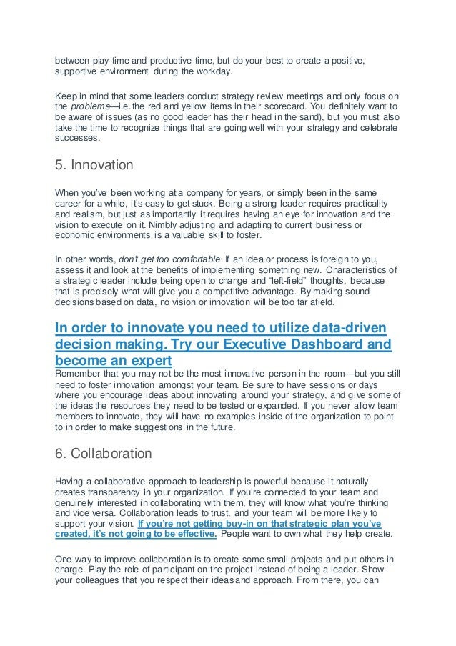 The 10 characteristics of a good strategic leader Slide 3