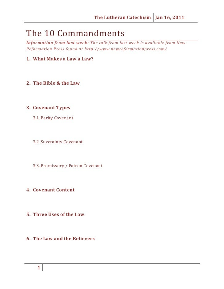 The 10 Commandments<br />Information from last week: The talk from last week is available from New Reformation Press found...