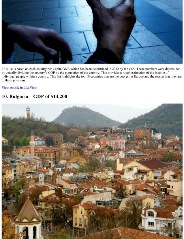 The Most Poverty Ridden Countries In Europe The Richest - Top 10 most poor countries