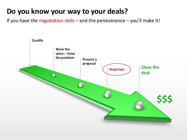 Do you know your way to your deals? If you have the negotiation skills – and the perseverance – you'll make it! Close the ...