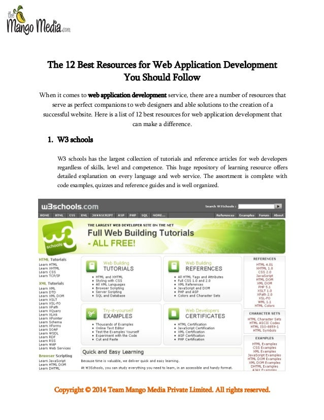 The 12 Best Resources for Web Application Development You Should Follow When it comes to web application development servi...