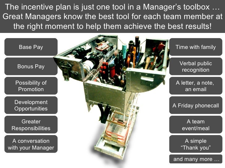 The incentive plan is just one tool in a Manager's toolbox … Great Managers know the best tool for each team member at the...