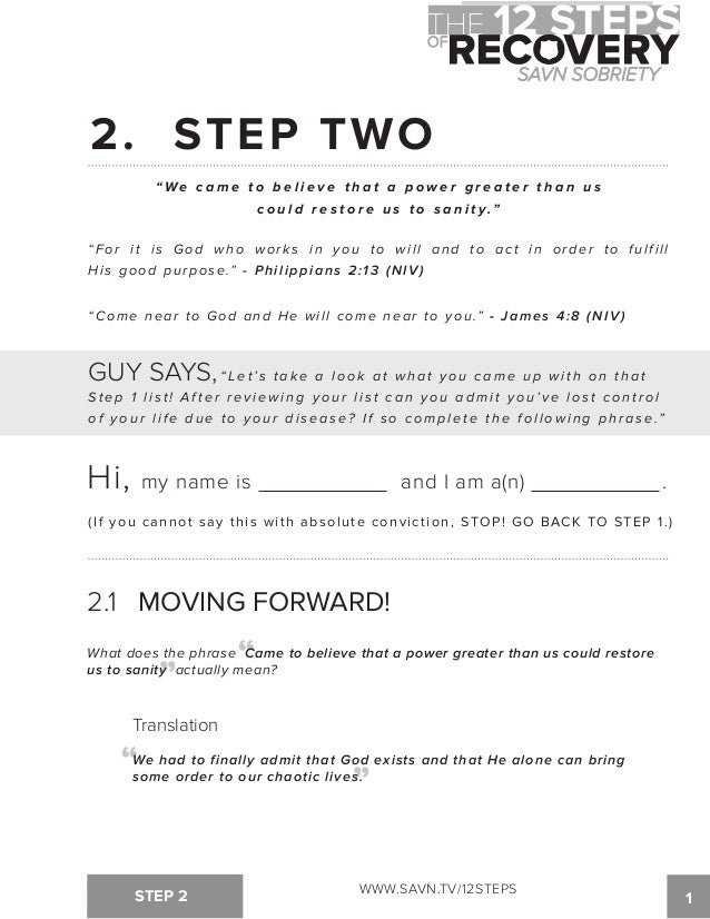 The 12 Steps of Recovery savn sobriety workbook – Step 8 Worksheet