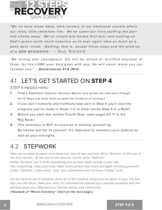 The 12 Steps of Recovery savn sobriety workbook – Fourth Step Worksheet