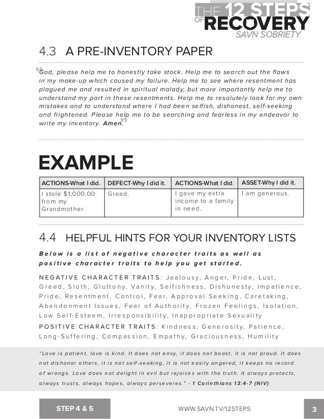 Worksheet Moral Inventory Worksheet the 12 steps of recovery savn sobriety workbook tv12steps step 4 5 22