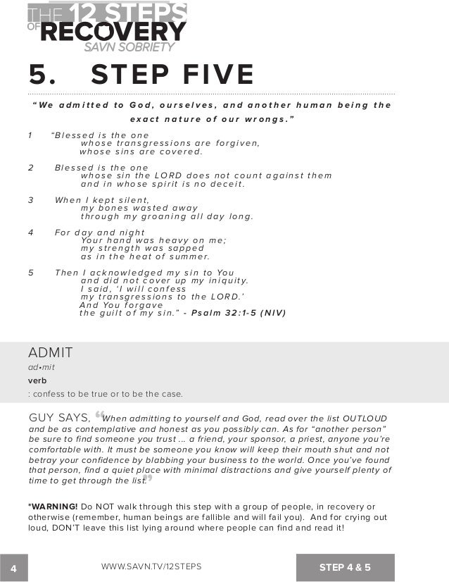 Printables Aa Step 5 Worksheet the 12 steps of recovery savn sobriety workbook 5 step